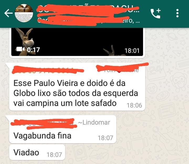 Comentário homofóbico do comunicador em um grupo do whatsapp