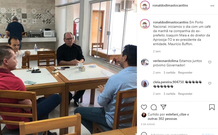 Dimas Em Porto Nacional, em café da manhã na companhia do ex-prefeito Joaquim Maia e do diretor da Aprosoja-TO e ex-presidente da entidade, Maurício Buffon.